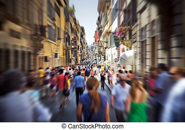 italiano, calle, multitud, estrecho