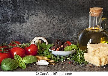 italiano, plano de fondo, alimento