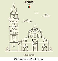 italy., señal, messina, icono, catedral