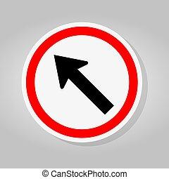 izquierda, señal, camino, ilustración, aislar, ir, vector, flecha, plano de fondo, blanco