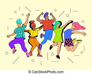 jóvenes, activo, feliz, saltar