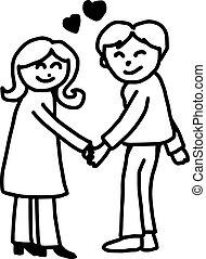 Jóvenes enamorados tomándose de la mano con el corazón en el medio, vector de ilustración dibujado a mano, aislados en el fondo blanco