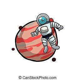 Júpiter Planet con astronauta