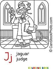 j, jaguar, juez, libro, colorido, alfabeto, abc