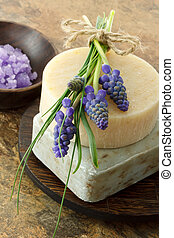 jacinto, hechaa mano, uva, jabón