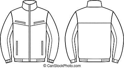 jacket., trabajo, espalda, frente