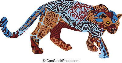 Jaguar en el patrón étnico de Ind
