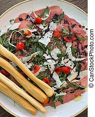 jamon, servido, breadsticks, ensalada