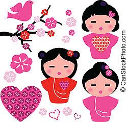 Japón ama a Geisha y a los elementos florales aislados del blanco