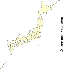 Japón con distritos administrativos