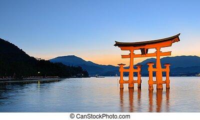 japón, itsukushima, torii, miyajima, puerta