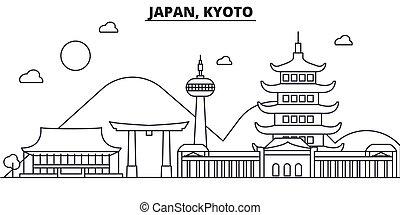 Japón, línea de arquitectura de Kyoto ilustración en el horizonte. Vector lineal Cityscape con puntos de referencia famosos, vistas de la ciudad, iconos de diseño. Landscape wtih derrames editables