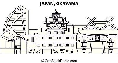 Japón, línea de Okayama ilustración vectorial en línea aérea. Japón, Okayama paisaje lineal con puntos de referencia famosos, paisajes de la ciudad, paisaje vectorial.