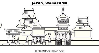Japón, línea Wakayama paraliza la ilustración vectorial. Japón, Wakayama lineal Cityscape con monumentos famosos, paisajes de la ciudad, paisajes vectoriales.