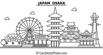 Japón, la línea de arquitectura de Osaka ilustra la ilustración. Vector lineal Cityscape con puntos de referencia famosos, vistas de la ciudad, iconos de diseño. Landscape wtih derrames editables
