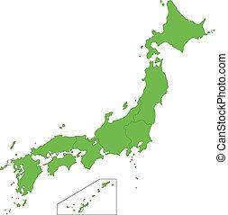 japón, mapa verde