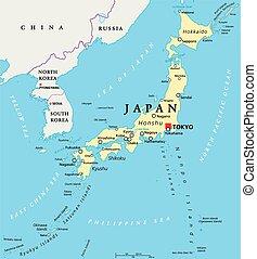 japón, político, mapa