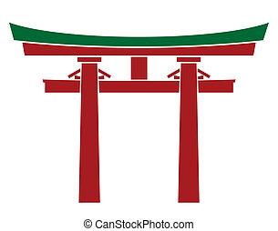 japón, puerta, -, torii