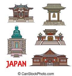 japón, señales, edificios, línea fina, viaje