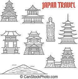 Japón viaja puntos de referencia delgados iconos de línea