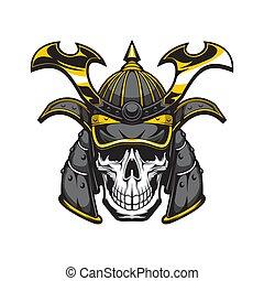 japonés, casco, cráneo, guerrero, samurai
