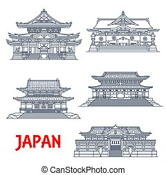 japonés, señal, religioso, línea fina, viaje