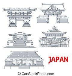 japonés, señales, edificios, viaje, tokio