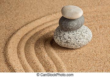 japonés, zen, jardín de piedra