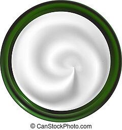 Jar con una crema de textura en espiral. Vista desde arriba. Remolino blanco.