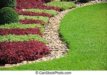 jardín, ajardinado, yarda