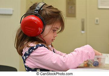 jardín de infantes, cheque, niños, oído