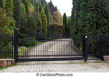 jardín, fondo negro, puerta, propiedad, forjado