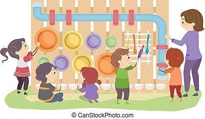 jardín, niños, sensorio, arreglar, stickman, musical