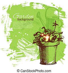 jardinería, bosquejo, diseño, fondo., vendimia, mano, dibujado