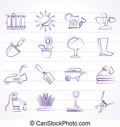 jardinería, objetos, herramientas, iconos