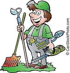 Jardinero con herramientas