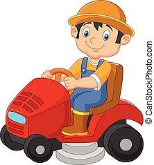 Jardinero masculino de dibujos animados cabalgando