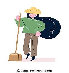jardinero, pala, trabajando, ropa, sombrero, posición, mujer