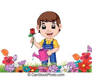 Jardinero sosteniendo flores y latas de agua en un jardín de flores