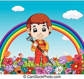 Jardinero sosteniendo pala en un jardín de flores con arco iris