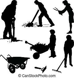 Jardineros y herramientas