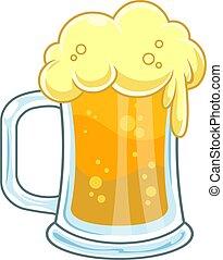 jarra, espuma, cerveza, frío, caricatura