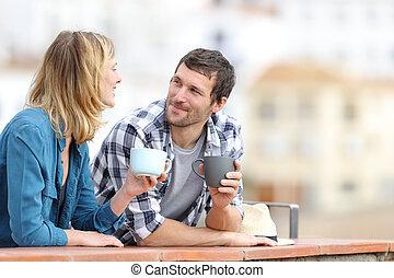 jarras, hablar, balcón, tenencia, relajado, pareja