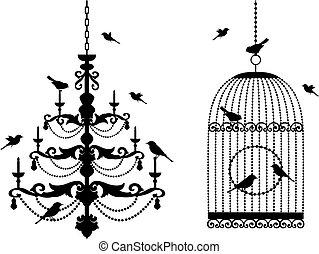 jaula, araña de luces, aves