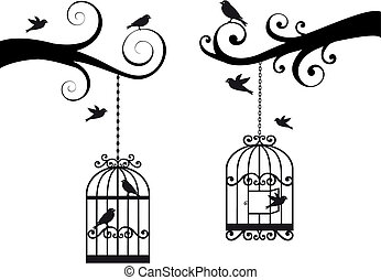 jaula, aves, vector