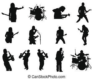 jazz, conjunto, siluetas, roca