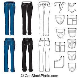 Jeans se viste de blanco. Vector