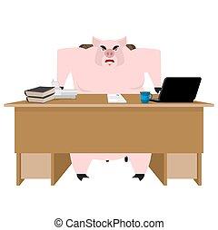 Jefe cerdo. Empresario Piglet en recepción. Oficina de granjas. Ilustración de vectores