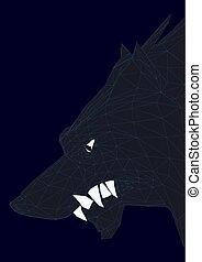 Jefe de un lobo negro poligonal. 3D. Ilustración de vectores