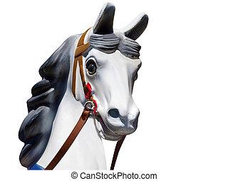 Jefe de un viejo caballo de carrusel